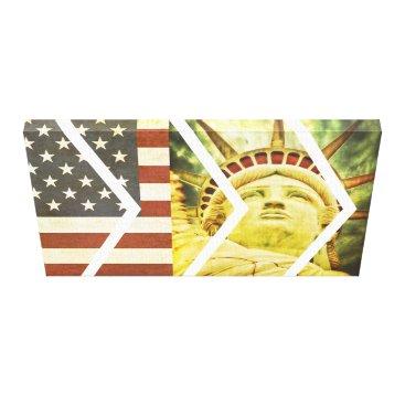 USA Themed Vintage USA Flag Statue of Liberty Chevrons Canvas Print