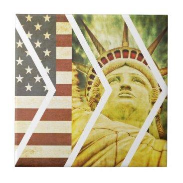 USA Themed Vintage USA Flag Statue of Liberty Chevrons Ceramic Tile