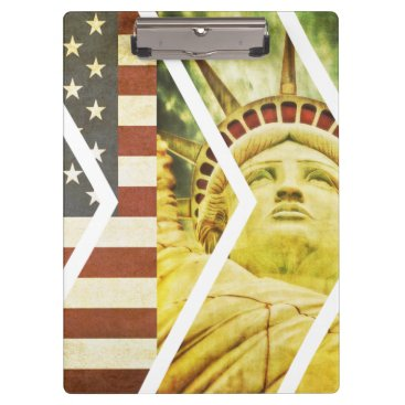 USA Themed Vintage USA Flag Statue of Liberty Chevrons Clipboard