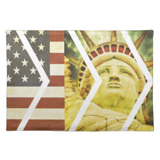 Vintage USA Flag Statue of Liberty Chevrons Cloth Placemat