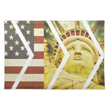 USA Themed Vintage USA Flag Statue of Liberty Chevrons Cloth Placemat