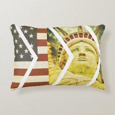 USA Themed Vintage USA Flag Statue of Liberty Chevrons Decorative Pillow