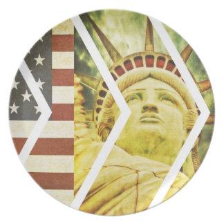Vintage USA Flag Statue of Liberty Chevrons Dinner Plate
