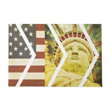 USA Themed Vintage USA Flag Statue of Liberty Chevrons Doormat