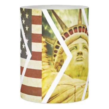 USA Themed Vintage USA Flag Statue of Liberty Chevrons Flameless Candle