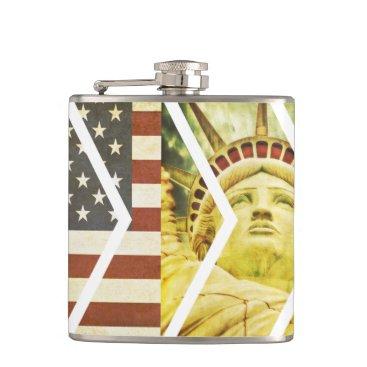 USA Themed Vintage USA Flag Statue of Liberty Chevrons Flask