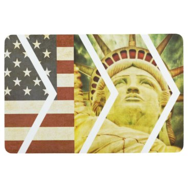 USA Themed Vintage USA Flag Statue of Liberty Chevrons Floor Mat