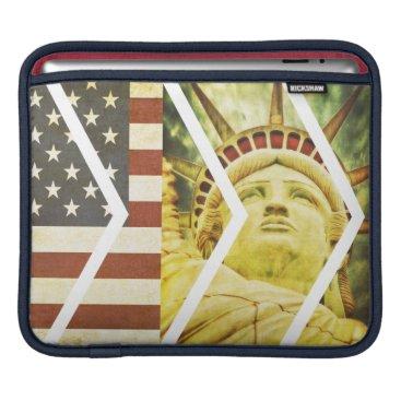 USA Themed Vintage USA Flag Statue of Liberty Chevrons iPad Sleeve