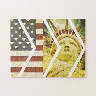 USA Themed Vintage USA Flag Statue of Liberty Chevrons Jigsaw Puzzle