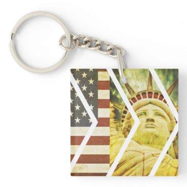 USA Themed Vintage USA Flag Statue of Liberty Chevrons Keychain