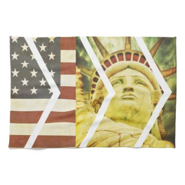 USA Themed Vintage USA Flag Statue of Liberty Chevrons Kitchen Towel