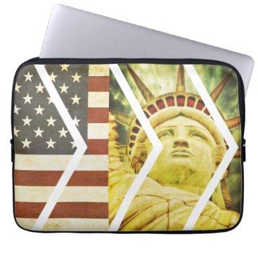 USA Themed Vintage USA Flag Statue of Liberty Chevrons Laptop Sleeve