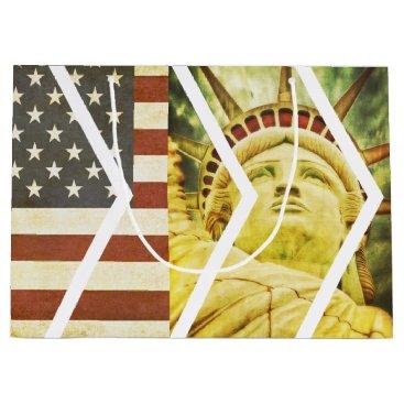 USA Themed Vintage USA Flag Statue of Liberty Chevrons Large Gift Bag