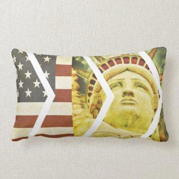 USA Themed Vintage USA Flag Statue of Liberty Chevrons Lumbar Pillow