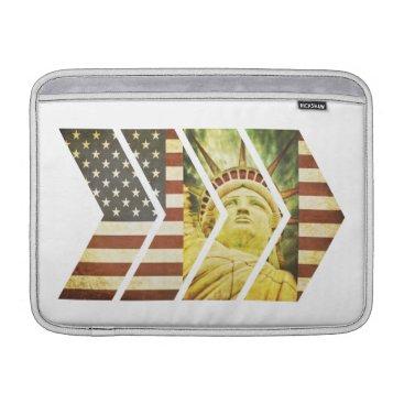 USA Themed Vintage USA Flag Statue of Liberty Chevrons MacBook Sleeve