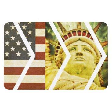 USA Themed Vintage USA Flag Statue of Liberty Chevrons Magnet