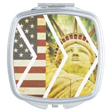 USA Themed Vintage USA Flag Statue of Liberty Chevrons Makeup Mirror
