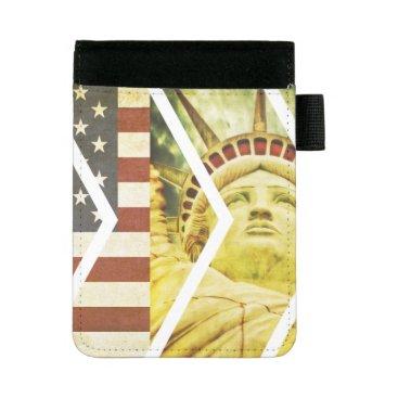 USA Themed Vintage USA Flag Statue of Liberty Chevrons Mini Padfolio