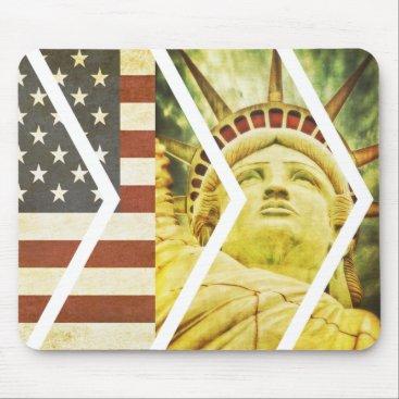 USA Themed Vintage USA Flag Statue of Liberty Chevrons Mouse Pad