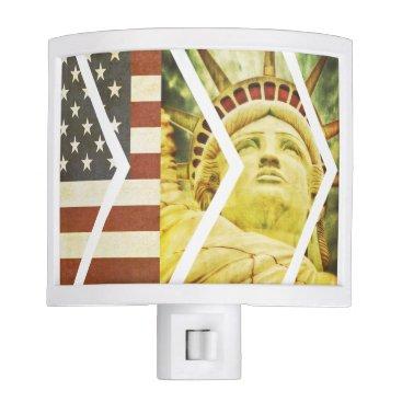 USA Themed Vintage USA Flag Statue of Liberty Chevrons Night Light