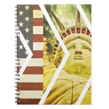 USA Themed Vintage USA Flag Statue of Liberty Chevrons Notebook