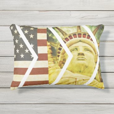 USA Themed Vintage USA Flag Statue of Liberty Chevrons Outdoor Pillow
