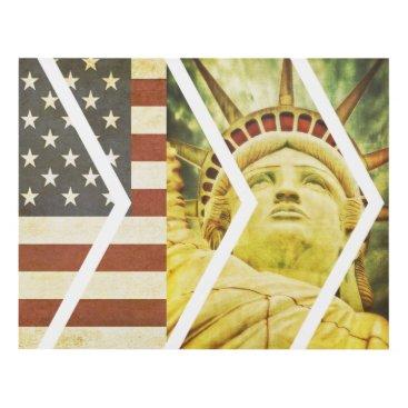 USA Themed Vintage USA Flag Statue of Liberty Chevrons Panel Wall Art