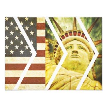 USA Themed Vintage USA Flag Statue of Liberty Chevrons Photo Print