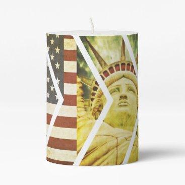 USA Themed Vintage USA Flag Statue of Liberty Chevrons Pillar Candle