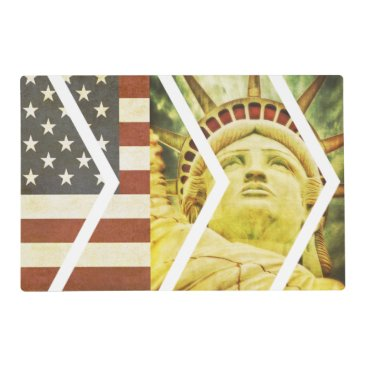 USA Themed Vintage USA Flag Statue of Liberty Chevrons Placemat