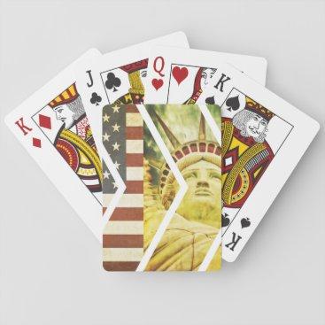 USA Themed Vintage USA Flag Statue of Liberty Chevrons Playing Cards
