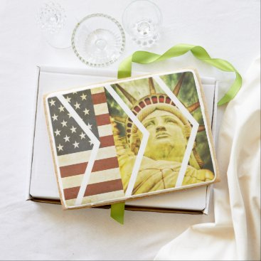 USA Themed Vintage USA Flag Statue of Liberty Chevrons Shortbread Cookie