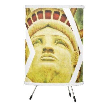 USA Themed Vintage USA Flag Statue of Liberty Chevrons Tripod Lamp