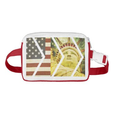 USA Themed Vintage USA Flag Statue of Liberty Chevrons Waist Bag