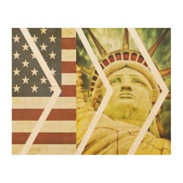 USA Themed Vintage USA Flag Statue of Liberty Chevrons Wood Wall Art