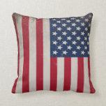 Vintage USA Flag Throw Pillow