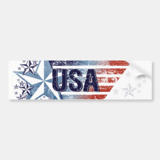 Vintage USA Flag with Star - 4th of July Car Bumper Sticker