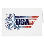 Vintage USA Flag with Star – 4th of July Greeting Cards