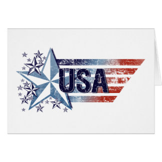 Vintage USA Flag with Star – 4th of July Card