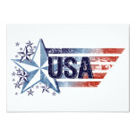 Vintage USA Flag with Star – 4th of July Invitations