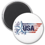 Vintage USA Flag with Star - 4th of July Refrigerator Magnets