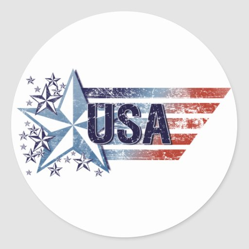Vintage USA Flag with Star - 4th of July Stickers