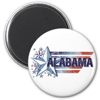 Vintage USA Flag with Star – Alabama 2 Inch Round Magnet