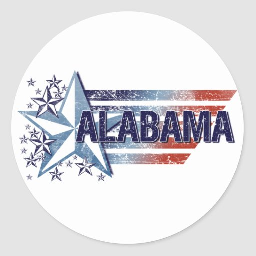 Vintage USA Flag with Star – Alabama Round Stickers
