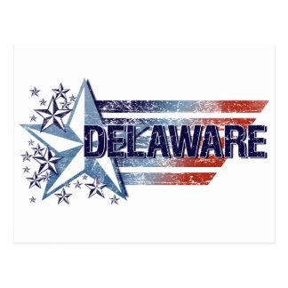Vintage USA Flag with Star – Delaware Postcard