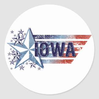 Vintage USA Flag with Star – Iowa Round Stickers