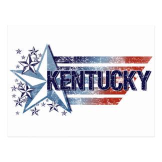 Vintage USA Flag with Star – Kentucky Postcard
