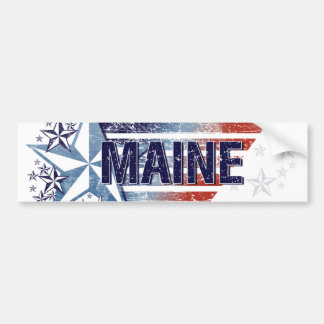 Vintage USA Flag with Star – Maine Car Bumper Sticker