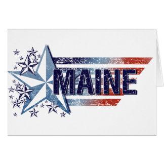 Vintage USA Flag with Star – Maine Card