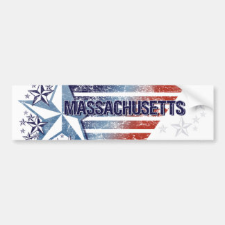 Vintage USA Flag with Star – Massachusetts Car Bumper Sticker